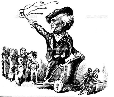 "INT-F-864207-0000 - The German composer Richard Wagner triumphant on a chariot after the execution of the play ""Tristano e Isotta"", print, from ""The Jews in caricature"" by Eduard Fuchs - Sammlung Rauch / Interfoto/Alinari Archives"