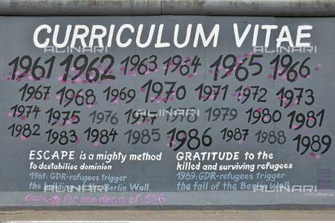 "INT-S-000112-4287 - ""Curriculum vitae"", graffiti by Snne Kunjappu-Jellinek on the remains of the Berlin Wall, East Side Gallery, Friedrichshain district - Fabian von Poser / Interfoto/Alinari Archives"