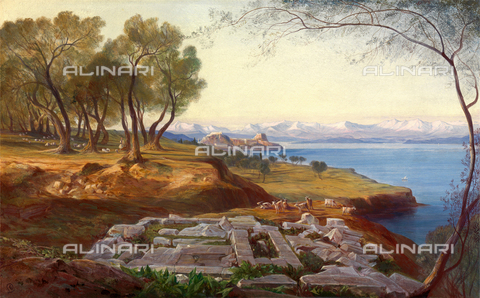 LCA-F-005298-0000 - Panorama of Corfu from the Ascension Hill, oil on canvas, Edward Lear (1812-1888) - Liszt Collection/Alinari Archives