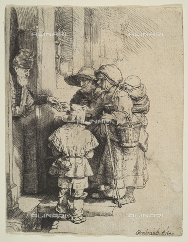 LCA-F-005301-0000 - Beggars Receiving Alms at the Door of a House, engraving, Rembrandt Harmenszoon van Rijn (1606-1669) - Quint Lox Limited / Liszt Collection/Alinari Archives