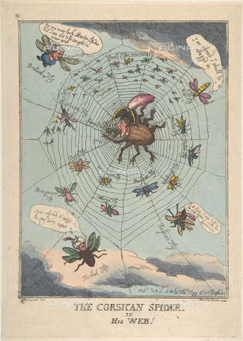 LCA-F-005310-0000 - The Corsican Spider in His Web,  hand-colored engraving published in 1808, Thomas Rowlandson (1756-1827) - Liszt Collection/Alinari Archives