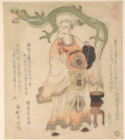 LCA-F-005311-0000 - Saggio cinese che evoca un drago, Xilografia, Yashima Gakutei (1786–1868) - Liszt Collection/Archivi Alinari