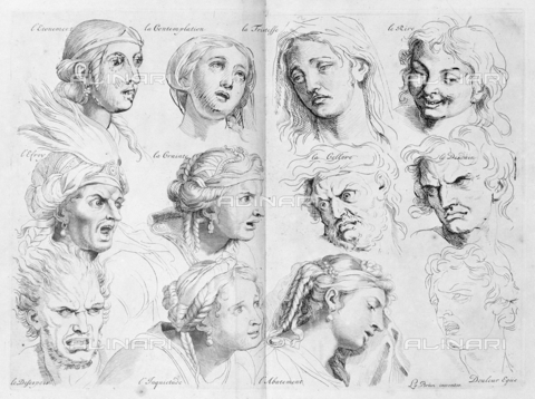 LCA-F-005312-0000 - The expressions, engraving, Henri Testelin (1616-1695), after Charles Le Brun (1619-1690) - Quint Lox Limited / Liszt Collection/Alinari Archives