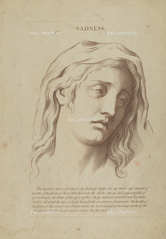LCA-F-005316-0000 - Sadness, engraving, unknown artist of the second half of the eighteenth century after Charles Le Brun (1619-1690) - Quint Lox Limited / Liszt Collection/Alinari Archives