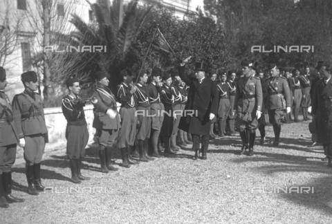 LLA-S-00MM29-0002 - Benito Mussolini (1883-1945) all'inaugurazione del Foro Mussolini insieme all'onorevole Renato Ricci (1896-1956), Presidente dell'Opera Nazionale Balilla - Data dello scatto: 04/11/1932 - Archivio Luigi Leoni / Archivi Alinari