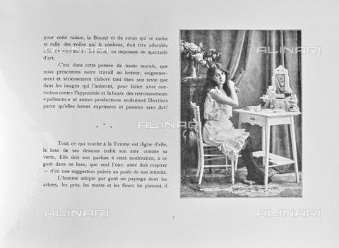 """LVQ-L-000214-P007 - Page with photograph of Woman combing herself in front of the mirror, from the dossier """"Le Deshabillé documentaire. Etude artistique Illustrée de Cent compositions photographiques d'après Nature"""", 1 Fascicule, J. B. de la Hoà¼e, Nouvelle Librairie Artistique 7-9 Rue de la Boà«tie, Paris - Date of photography: 1900-1910 ca. - Fratelli Alinari Museum Collections, Florence"""