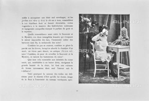 """LVQ-L-000214-P011 - Page with photograph of Woman combing herself in front of the mirror, from the dossier """"Le Deshabillé documentaire. Etude artistique Illustrée de Cent compositions photographiques d'après Nature"""", 1 Fascicule, J. B. de la Hoà¼e, Nouvelle Librairie Artistique 7-9 Rue de la Boà«tie, Paris - Date of photography: 1900-1910 ca. - Fratelli Alinari Museum Collections, Florence"""