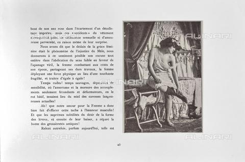 """LVQ-L-000215-P023 - Page with photograph of Woman taking off a boot, from the dossier """"Le Deshabillé documentaire. Etude artistique Illustrée de Cent compositions photographiques d'après Nature"""", 2 Fascicule, J. B. de la Hoà¼e, Nouvelle Librairie Artistique 7-9 Rue de la Boà«tie, Paris - Date of photography: 1900-1910 ca. - Fratelli Alinari Museum Collections, Florence"""