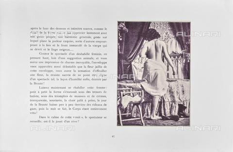 """LVQ-L-000215-P027 - Page with photograph of Woman in shoulders petticoat, photography taken from the dossier """"Le Deshabillé documentaire. Etude artistique Illustrée de Cent compositions photographiques d'après Nature"""", 2 Fascicule, J. B. de la Hoà¼e, Nouvelle Librairie Artistique 7-9 Rue de la Boà«tie, Paris - Date of photography: 1900-1910 ca. - Fratelli Alinari Museum Collections, Florence"""