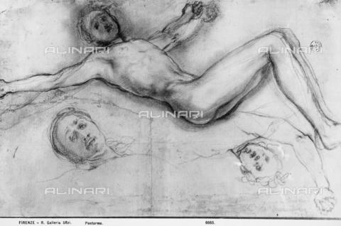 MAA-F-006665-0000 - Studio per la Crocfissione di Gesù Cristo. Disegno del Pontormo conservato agli Uffizi presso il Gabinetto dei disegni e delle stampe. - Data dello scatto: 1910 ca - Archivi Alinari, Firenze