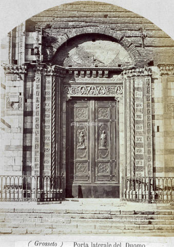 MFC-A-004631-0005 - The portal in the left side of the Cathedral in Grosseto. The picture shows the portal before the lunette and the tympanum were set in place - Date of photography: 1863 ca. - Fratelli Alinari Museum Collections-Malandrini Collection, Florence