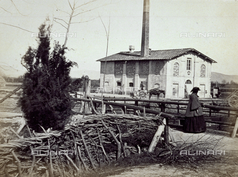 MFC-A-004631-0013 - The Agenzia dei Regi Possessi. In the foreground wood stacked up and a woman in travelling attire - Date of photography: 1863 ca. - Fratelli Alinari Museum Collections-Malandrini Collection, Florence