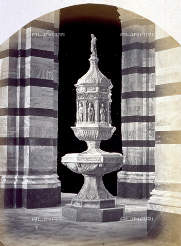 MFC-A-004631-0021 - The baptismal font by Antonio Ghini in the Cathedral in Grosseto - Date of photography: 1863 ca. - Fratelli Alinari Museum Collections-Malandrini Collection, Florence