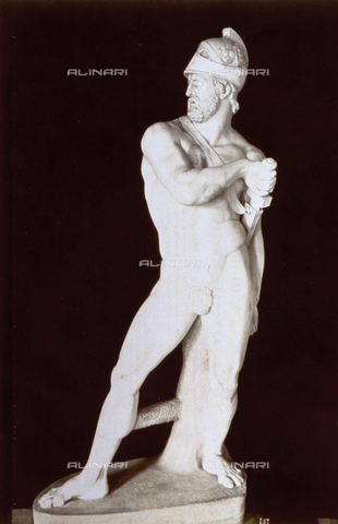 MFC-A-004666-0016 - Colossal statue of Ajax, by Antonio Canova, in the Palazzo Treves De'Bonfili in Venice - Data dello scatto: 1874 - Archivi Alinari, Firenze