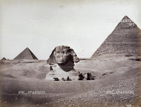 MFC-A-004677-0036 - La Sfinge fra le piramidi di Chefren e di Micerino, Giza - Data dello scatto: 1870-1880 - Raccolte Museali Fratelli Alinari (RMFA)-collezione Malandrini, Firenze