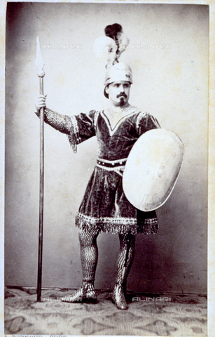 MFC-F-000381-0000 - Portrait of a man dressed as an antique soldier with plumed helmet, lance and shield - Date of photography: 24 Marzo 1865 - Fratelli Alinari Museum Collections-Malandrini Collection, Florence