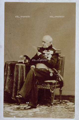 MFC-F-000975-0000 - Portrait of Esprit Victor Castellane, french marshal, and count of Boniface, in full dress uniform. The aristocrat is seen sitting reading - Data dello scatto: 1854-1860 ca. - Archivi Alinari, Firenze