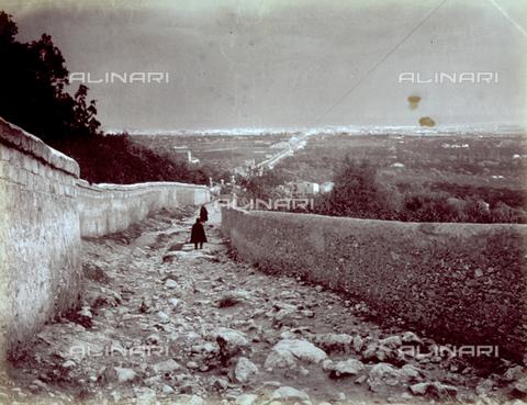 MFC-F-001354-0000 - Uneven area enclosed by two walls. On the horizon a country landscape and a city - Data dello scatto: 1887 - Archivi Alinari, Firenze