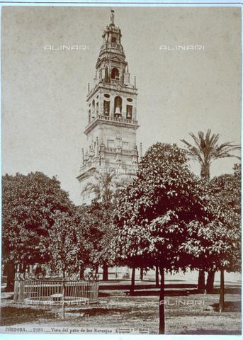 MFC-F-001422-0000 - Veduta del patio di Los Naranjos a Cordova, con la torre della grande moschea - Data dello scatto: 1870-1880 ca. - Raccolte Museali Fratelli Alinari (RMFA)-collezione Malandrini, Firenze