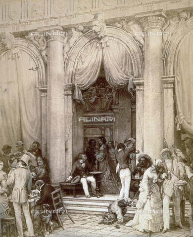 MFC-F-001634-0000 - Reproduction of a picture by the nineteenth century painter Nerly of a group of people gathered outside the Caffè Florian in Venice, drinking, gossiping, and playing chess - Data dello scatto: 1870-1880 ca. - Archivi Alinari, Firenze