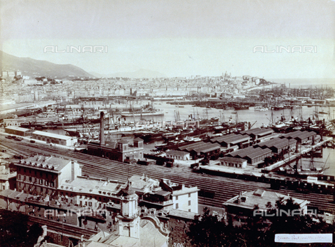 MFC-F-001651-0000 - The port of Genoa seen from Villa Rosazza. In the background the city. In the foreground some railway tracks and a few freight wagons - Data dello scatto: 1870-1890 ca. - Archivi Alinari, Firenze