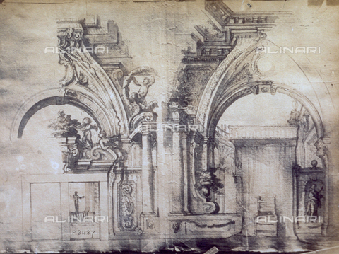 MFC-F-001755-0000 - Study by Giacinto Marmi of the interior of a building with two arches - Data dello scatto: 1865 ca. - Archivi Alinari, Firenze
