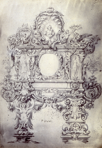 MFC-F-001758-0000 - Study by Diacinto Marino of ornamental motifs on a coat of arms with hybrid allegorical figures, animals, plants and cupids - Data dello scatto: 1865 ca. - Archivi Alinari, Firenze