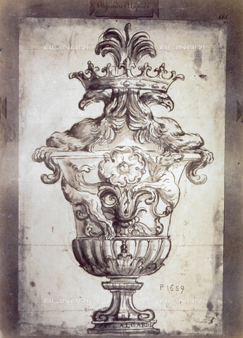 MFC-F-001765-0000 - Drawing by Alessandro Algardi, whose name appears in a plaque in the upper part and on the base of the chalice shown. Two birds of prey and a crown comopose the lid, while two dogs and floral ornaments decorate the chalice - Data dello scatto: 1865 ca. - Archivi Alinari, Firenze
