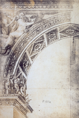 MFC-F-001767-0000 - Architectural drawing by Baldassare Peruzzi of a detail of an arch. There are a few cupids on the impost blocks. The first on the left is holding grapes, the second a guitar, the third is kneeling. Above on the left is the figure of a saint with a cupid. The intrados of the arch is decorated with rosettes - Data dello scatto: 1865 ca. - Archivi Alinari, Firenze