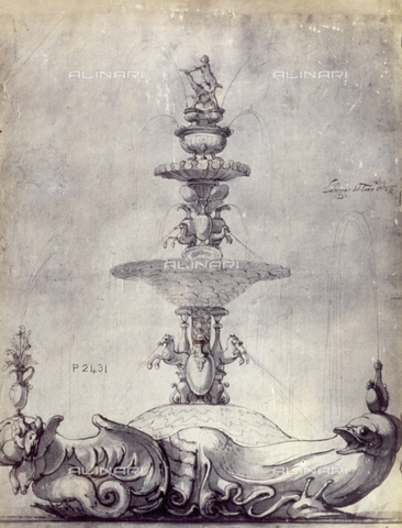 MFC-F-001779-0000 - Drawing for a fountain, by Baccio del Bianco - Data dello scatto: 1865 ca. - Archivi Alinari, Firenze