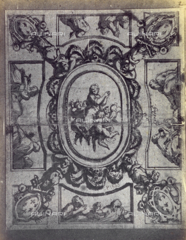 MFC-F-001781-0000 - Drawing by Giorgio Vasari Ofan idea for a wall painting with a few figures and coats of arms - Data dello scatto: 1865 ca. - Archivi Alinari, Firenze