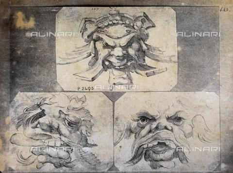 MFC-F-001787-0000 - Disegno di Annibale Carracci raffigurante dei mascheroni - Data dello scatto: 1865 ca. - Archivi Alinari, Firenze