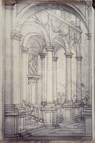MFC-F-001789-0000 - Drawing by Agostino Mitelli of a loggia - Data dello scatto: 1865 ca. - Archivi Alinari, Firenze