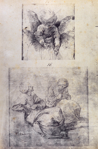 MFC-F-001792-0000 - Sketch by Guido Reni of two seated women and a putto - Data dello scatto: 1865 ca. - Archivi Alinari, Firenze