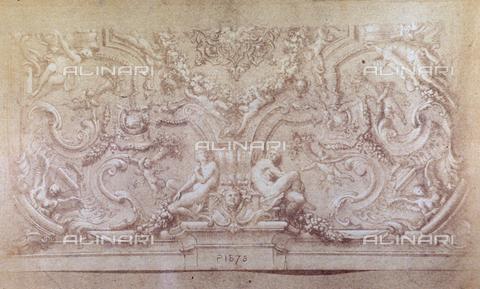 MFC-F-001796-0000 - Disegno attribuito alla scuola di Michelangelo raffigurante un fregio - Data dello scatto: 1865 ca. - Archivi Alinari, Firenze