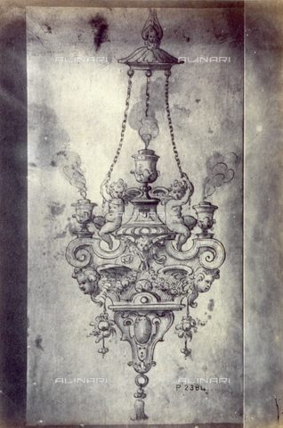 MFC-F-001797-0000 - Drawing by Gentile Bellini of a design for candelabra - Date of photography: 1865 ca. - Fratelli Alinari Museum Collections-Malandrini Collection, Florence
