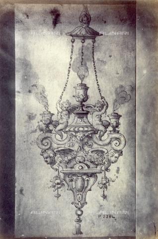 MFC-F-001797-0000 - Disegno di Gentile Bellini raffigurante un bozzetto per candelabra - Data dello scatto: 1865 ca. - Archivi Alinari, Firenze