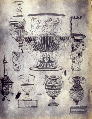 MFC-F-001799-0000 - Drawing by Pietro Cattani of vases - Data dello scatto: 1865 ca. - Archivi Alinari, Firenze