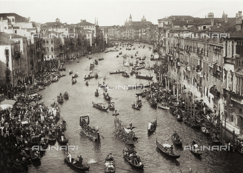 MFC-S-001600-0068 - View from above of the Grand Canal in Venice during a historical regatta. The canal is crowded with gondolas