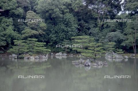 """MFV-S-JPN369-0099 - Tempio di Kinkaku-ji (""""Tempio del padiglione d'oro""""), particolare del giardino, Kyoto - Data dello scatto: 1963-1991 - Fosco Maraini/Proprietà Gabinetto Vieusseux©Fratelli Alinari"""