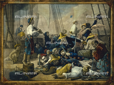 NMM-F-000436-0000 - Pirates dressed in women's clothes attempt to deceive a merchant ship, engraving, Auguste-Francois Biard (1799-1882), National Maritime Museum, Greenwich, London - National Maritime Museum, London / Alinari Archives