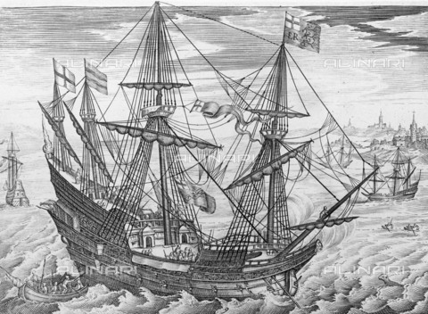 "NMM-F-001053-0000 - The ""White Bear"" ship commanded by Thomas Howard and involved in the defeat of the Spanish Armada of 1588, engraving, Claes Jansz. Visscher (1586-1652), National Maritime Museum, Greenwich, London - National Maritime Museum, London / Alinari Archives"