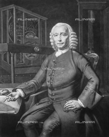 NMM-F-002090-0000 - John Harrison (1693-1776), English watchmaker and inventor, mezzotint, P. L. Tassaert from a painting by Thomas King, National Maritime Museum, Greenwich, London - National Maritime Museum, London / Alinari Archives