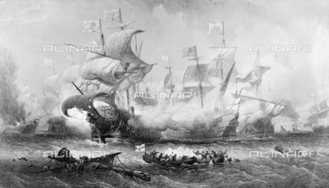 NMM-F-002350-0000 - The attack of the ship 'Vanguard', commanded by Sir William Winter, to the Spanish army on 8 August 1588, engraving, A. Wilmore from Sir Oswald Walter Brierly, National Maritime Museum, Greenwich, London - National Maritime Museum, London / Alinari Archives