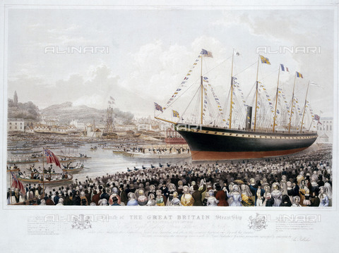"NMM-F-004548-0000 - Launch of the ""Great Britain"" steamboat in Bristol on July 19, 1843, lithograph, Thomas Picken, National Maritime Museum, Greenwich, London - National Maritime Museum, London / Alinari Archives"