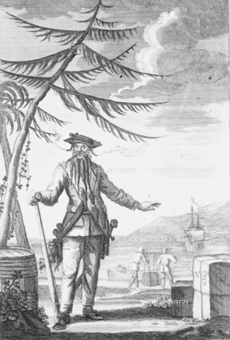 NMM-F-006569-0000 - The British pirate Edward Teach, better known as Blackbeard (c. 1680-1718), engraving, Thomas Nicholls, National Maritime Museum, Greenwich, London - National Maritime Museum, London / Alinari Archives