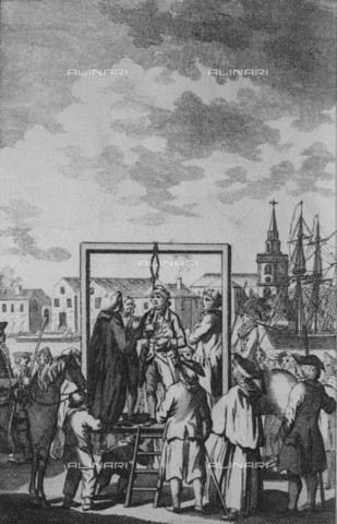 NMM-F-006588-0000 - Hanging of a pirate at Execution Dock, engraving, Dodd, Robert (1748-1815), National Maritime Museum, Greenwich, London - National Maritime Museum, London / Alinari Archives