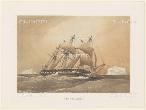 NMM-F-007074-0000 - HMS 'Challenger', lithograph, Anonymous of the late 19th century, National Maritime Museum, Greenwich, London - National Maritime Museum, London / Alinari Archives
