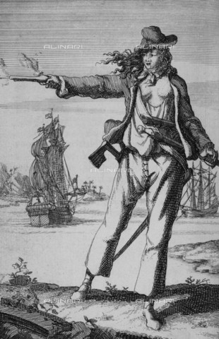 NMM-F-007750-0000 - Portrait of a pirate woman Anne Bonny, engraving, 18th Century Anonymous, National Maritime Museum, Greenwich, London - National Maritime Museum, London / Alinari Archives