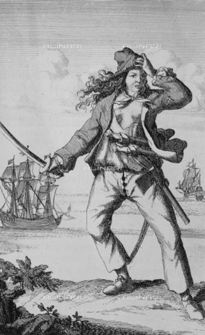 NMM-F-007751-0000 - Portrait of a pirate woman Mary Read, engraving, F. Wentworth, National Maritime Museum, Greenwich, London - National Maritime Museum, London / Alinari Archives